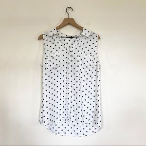 🌿 Relativity Sleeveless Polka Dot Blouse